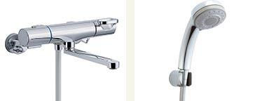 ▽INAX 取替用水栓【BF-WM145TNSB】クロマーレS サーモスタット付 シャワーバス水栓 寒冷地 整流 吐水口長さ(自在170mm)