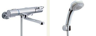 ▽INAX 取替用水栓【BF-WM145TNSBW】クロマーレS サーモスタット付 シャワーバス水栓 寒冷地 整流 吐水口長さ(自在170mm)