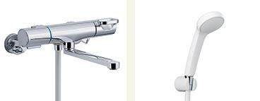 INAX 取替用水栓【BF-WM145TNSG(300)】クロマーレS サーモスタット付 シャワーバス水栓 寒冷地 整流 吐水口長さ(自在300mm)