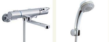 ▽INAX 取替用水栓【BF-WM145TSB】クロマーレS サーモスタット付 シャワーバス水栓 一般地 整流 吐水口長さ(自在170mm)