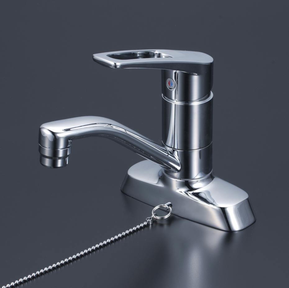 KVK 水栓金具【KM7004TGS】洗面用シングルレバー式混合栓 ゴム栓付