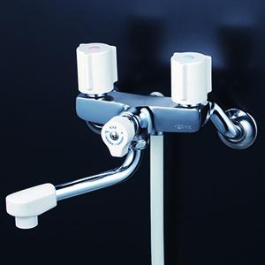 KVK【KF100G3N】一時止水付2ハンドルシャワー 150mmパイプ付 一般地用