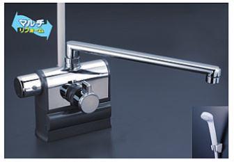 KVK 水栓金具【KF3008LR3】デッキ型サーモスタット式シャワー 可変ピッチ 左ハンドル仕様