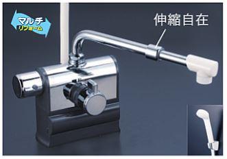 KVK 水栓金具【KF3008LSJ】デッキ型サーモスタット式シャワー 可変ピッチ 左ハンドル仕様 伸縮自在パイプ付