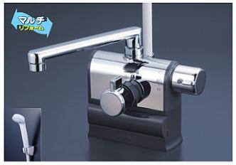 KVK 水栓金具【KF3008R】デッキ型サーモスタット式シャワー 可変ピッチ 右ハンドル仕様