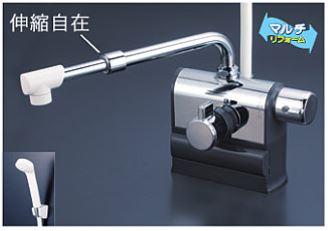 KVK 水栓金具【KF3008RSJ】デッキ型サーモスタット式シャワー 可変ピッチ 右ハンドル仕様 伸縮自在パイプ付