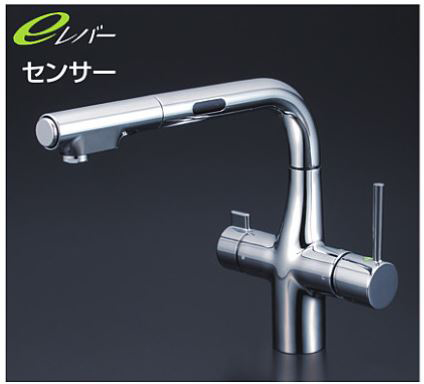 KVK 水栓金具【KM6131EC】浄水器専用シングルレバー式シャワー付混合栓 センサー付 水栓本体のみ