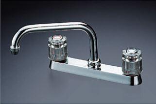 KVK 水栓金具【KM8GZ-R24】2ハンドル混合栓 固定こま 240mmパイプ付 寒冷地仕様