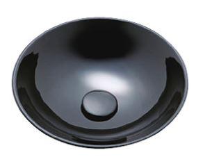 ≧KVK 洗面器【KV92A】美術工芸手洗鉢 天草陶石 黒グロス/プレーン