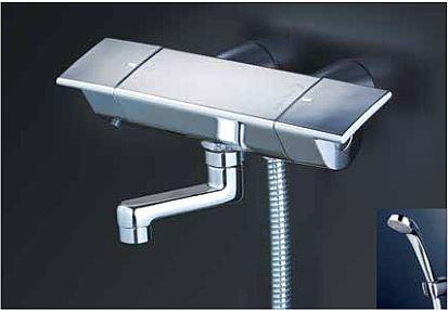 KVK 水栓金具【KF3050GN】フルメッキシャワーヘッド付 サーモスタット式シャワー(スカートソケットタイプ) 170mmパイプ付 寒冷地用