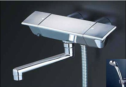 KVK 水栓金具【KF3050GR1】フルメッキシャワーヘッド付 サーモスタット式シャワー(スカートソケットタイプ) 170mmパイプ付