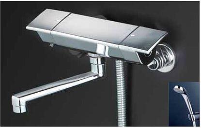 KVK 水栓金具【KF3050R2】フルメッキシャワーヘッド付 サーモスタット式シャワー 240mmパイプ付