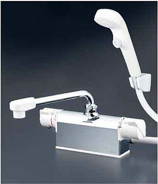 KVK 水栓金具【KF771ZR3S2】ワンストップシャワーヘッド付 デッキ形サーモスタット式シャワー 300mmパイプ付 寒冷地用