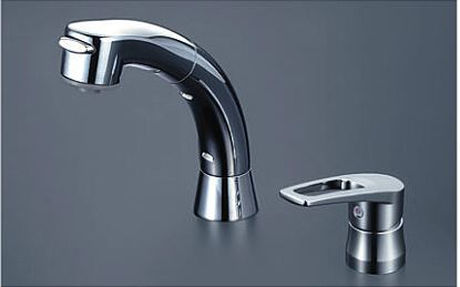 KVK【KM5271ZTS2】シングルレバー式洗髪シャワー シャワー引き出し式 ブレードホース・クイックファスナー付 寒冷地仕様