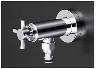 KVK【K1400SPJ】屋外ホース接続ニップル付水栓 固定こま