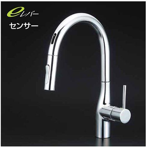 KVK【KM6071EC】流し台用シングルレバー式シャワー付混合栓(センサー付)