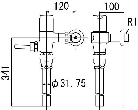 ▽ ###INAX/LIXIL【CF-T6110H】寒冷地用(節水形) フラッシュバルブ 洗浄水量6-8L便器用 受注約4週