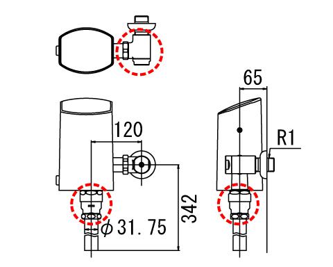 INAX オートフラッシュCセパレート形 フラッシュバルブ【OKC-T6112-C】洗浄水量6-8L便器用(定流量弁付フラッシュバルブ) 受注生産品
