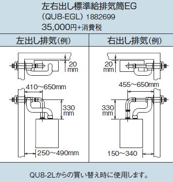 コロナ 石油給湯器 部材【QU8-EGL】左右出し標準給排気筒EG