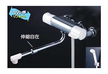 KVK 水栓金具【FTB100KWRJRS】浴室用水栓 サーモスタット式シャワー(伸縮自在パイプ付) ※寒冷地用