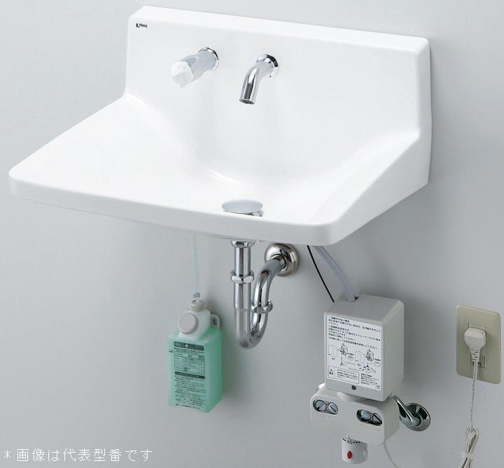 INAX/LIXIL 洗面化粧室【L-A955M2A】ハイバックガード洗面器 Lサイズ 自動水栓 単水栓 アクエナジー 床排水(Sトラップ) 壁給水