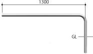 ####u.サンポール/SUNPOLE【AA-42UJ15-E】自転車アーチ ステンレス製 φ42.7 ジョイント式 エンド支柱 固定式 受注約3週
