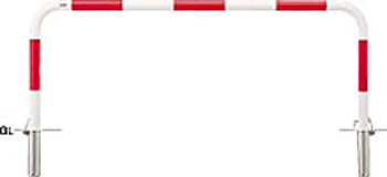 ####u.サンポール/SUNPOLE【FAA-7SK20-650(RW)】アーチ 赤白 スチール製 φ60.5 W2000 H650 差込式カギ付