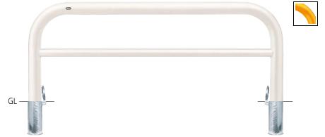 ####u.サンポール/SUNPOLE【FAH-11SF20-800(Y)】アーチ 黄 スチール製 φ101.6 W2000 H800 差込式フタ付 受注約3週
