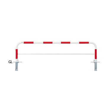####u.サンポール/SUNPOLE【FAH-7SK25-650(RW)】アーチ 赤白 スチール製 φ60.5 W2500 H650 差込式カギ付 受注約3週