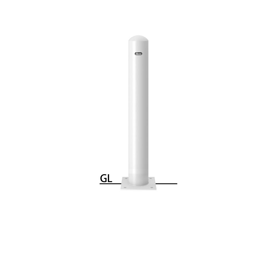 ####u.サンポール/SUNPOLE【FPA-12B-F00(W)】ピラー 白 スチール製 φ114.3 H850 ベース式 フックなし 受注約3週