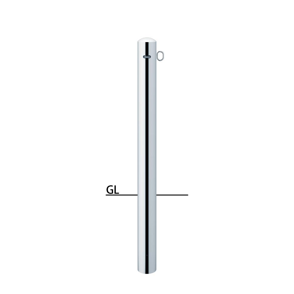 ####u.サンポール/SUNPOLE【PA-11U4-F01】ピラー ステンレス製 H850+埋込400(全長1250) φ101.6 固定式 片フック
