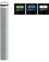 ####u.サンポール/SUNPOLE【RB-116K-SOL(NB)】ソーラーLEDボラード ブルー φ115 リサイクルゴムチップ 点灯式 差込式カギ付 受注約3週