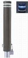 ####u.サンポール/SUNPOLE【RB-132SK-SOL(CB)】リサイクルボラード ダークブラウン 標準塗装 自発光LED付(ブルー) 点滅式 差込式カギ付 受注約3週