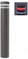 ####u.サンポール/SUNPOLE【RB-132U-SOL(CR)】リサイクルボラード ダークブラウン 標準塗装 自発光LED付(レッド) 点滅式 固定式 受注約3週