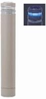 ####u.サンポール/SUNPOLE【RB-132U-SOL(NB)】リサイクルボラード グレーベージュ 標準塗装 自発光LED付(ブルー) 点滅式 固定式 受注約3週