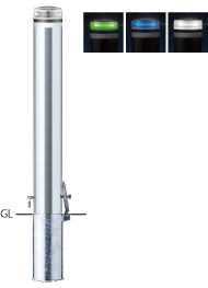 ####u.サンポール/SUNPOLE【V-S231SK-SOL(W)】ソーラーLEDボラード ホワイト φ114.3 ステンレス製 点灯式 差込式カギ付 受注約3週