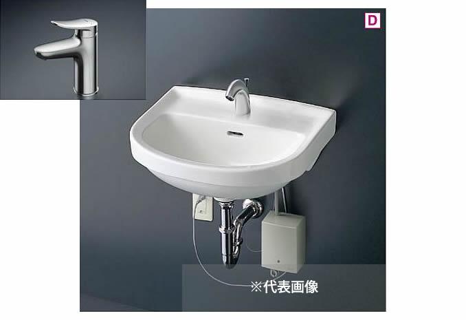 ###TOTO 壁掛洗面器 セット品番【L210C+TLS04303JA】台付シングル混合水栓(エコシングル) 壁排水金具(Pトラップ)