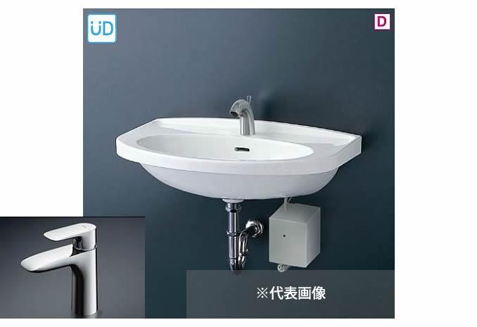 ###TOTO 壁掛洗面器 セット品番【L260C+TLG04303JA】台付シングル混合水栓(エコシングル) 壁排水金具(Pトラップ)