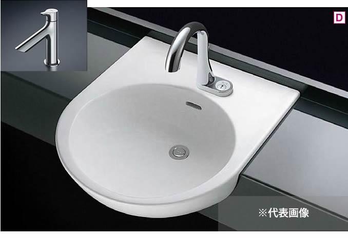 ###TOTO カウンター式洗面器 セット品番【L830CRU+TLS01101J】セルフリミング式 立水栓 壁排水金具(Pトラップ)