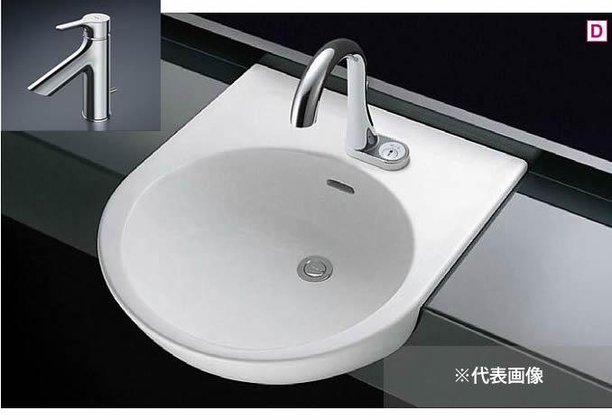 ###TOTO カウンター式洗面器 セット品番【L830CRU+TLS01302JA】セルフリミング式 台付シングル混合水栓(エコシングル) 床排水金具(Sトラップ)