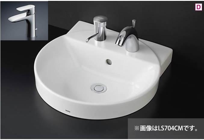###TOTO カウンター式洗面器 セット品番【LS704C #NW1+TLG04302JA】ホワイト ベッセル式 台付シングル混合水栓(エコシングル) 壁排水金具(Pトラップ)