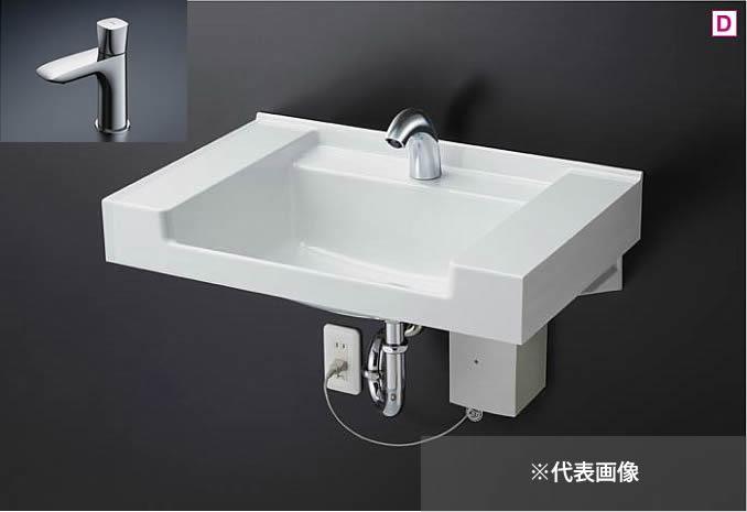 ###TOTO 壁掛洗面器 セット品番【MVRS45S #NW1+TLG04101J】ホワイト カウンター一体形洗面器 (樹脂製) 立水栓 (床排水用)