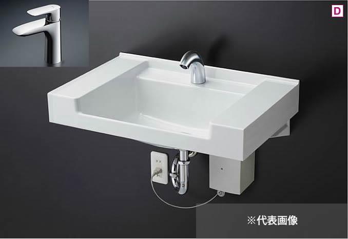###TOTO 壁掛洗面器 セット品番【MVRS45P #NW1+TLG04303JA】ホワイト カウンター一体形洗面器 (樹脂製) 台付シングル混合水栓(エコシングル) (壁排水用)