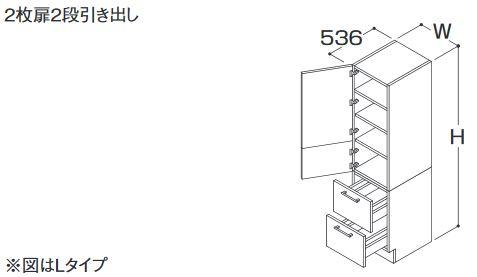 【大注目】 Rタイプ カウンター高さ750 ###TOTO トールキャビネット 間口300mm 2枚扉2段引き出し 受注約1週:クローバー資材館 部材【LTSFA030ANR1】ミドルクラス オクターブ-木材・建築資材・設備