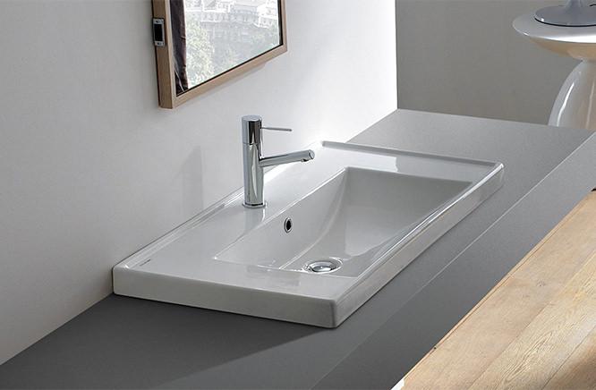 ■CERA/セラ 洗面・手洗【SB3005GR】MLシリーズ (洗面器のみ) ホワイト 915×465