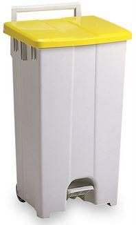 ####u.テラモト 環境美化用品【DS-224-309-6】ボックスカート 90 黄/白 90リットル 受注生産