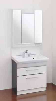 Ю####ジャニス/Janis【LU754CFJY+LUM7530SLC】洗面化粧台 フラットラインキャビ シャワー水栓 寒冷地 750幅 3面鏡 くもり止めコート