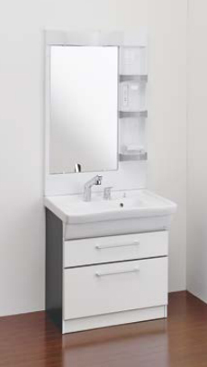 Ю####ジャニス/Janis【LU754CFJY+LUM7510SLN】洗面化粧台 フラットラインキャビ シャワー水栓 寒冷地 750幅 1面鏡 ヒーターなし