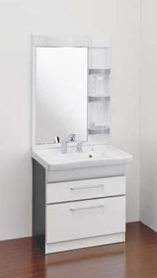 Ю####ジャニス/Janis【LU754CFJ+LUM7511SLN】洗面化粧台 フラットラインキャビ シャワー水栓 一般地 750幅 1面鏡ショートタイプ ヒーターなし 受注生産