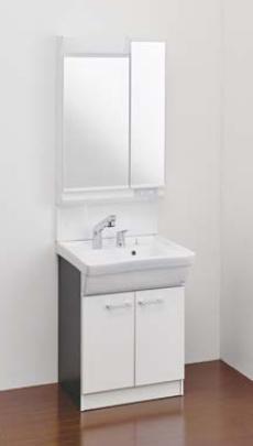 Ю####ジャニス/Janis【LU605CFJY+LUM6020SLC】洗面化粧台 フラットラインキャビ シャワー水栓 寒冷地 600幅 2面鏡 くもり止めコート